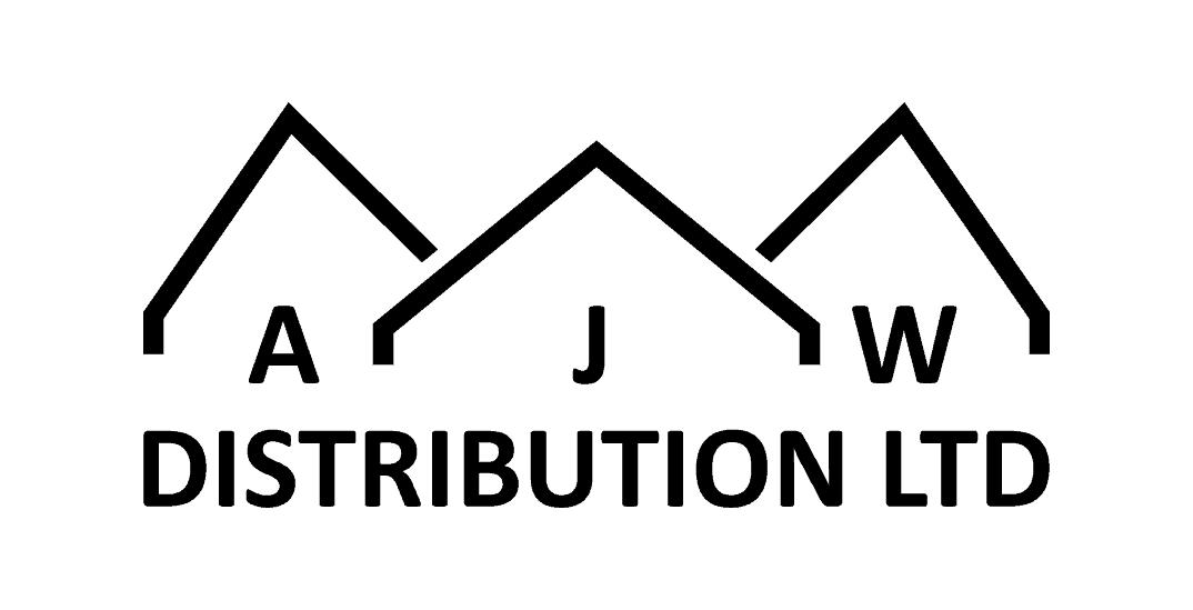 Black AJW logo on white background