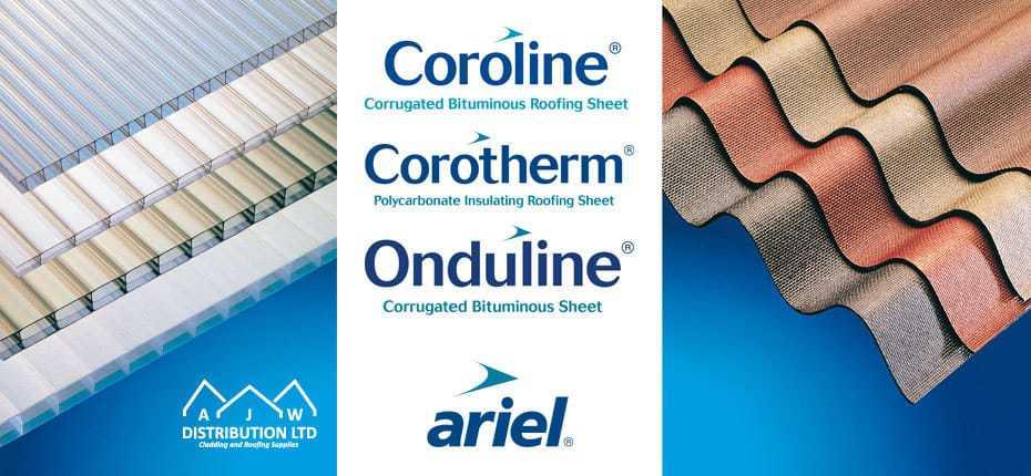 AJW Coroline and Onduline plastic roofing materials