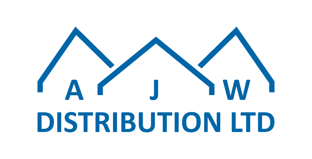 Blue AJW logo on white background