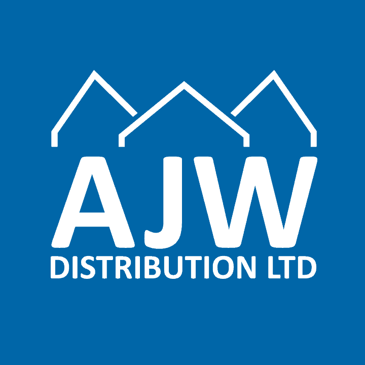 AJW Logo - white on blue background square