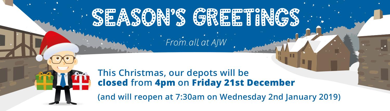 AJW Christmas Closing Times 2018